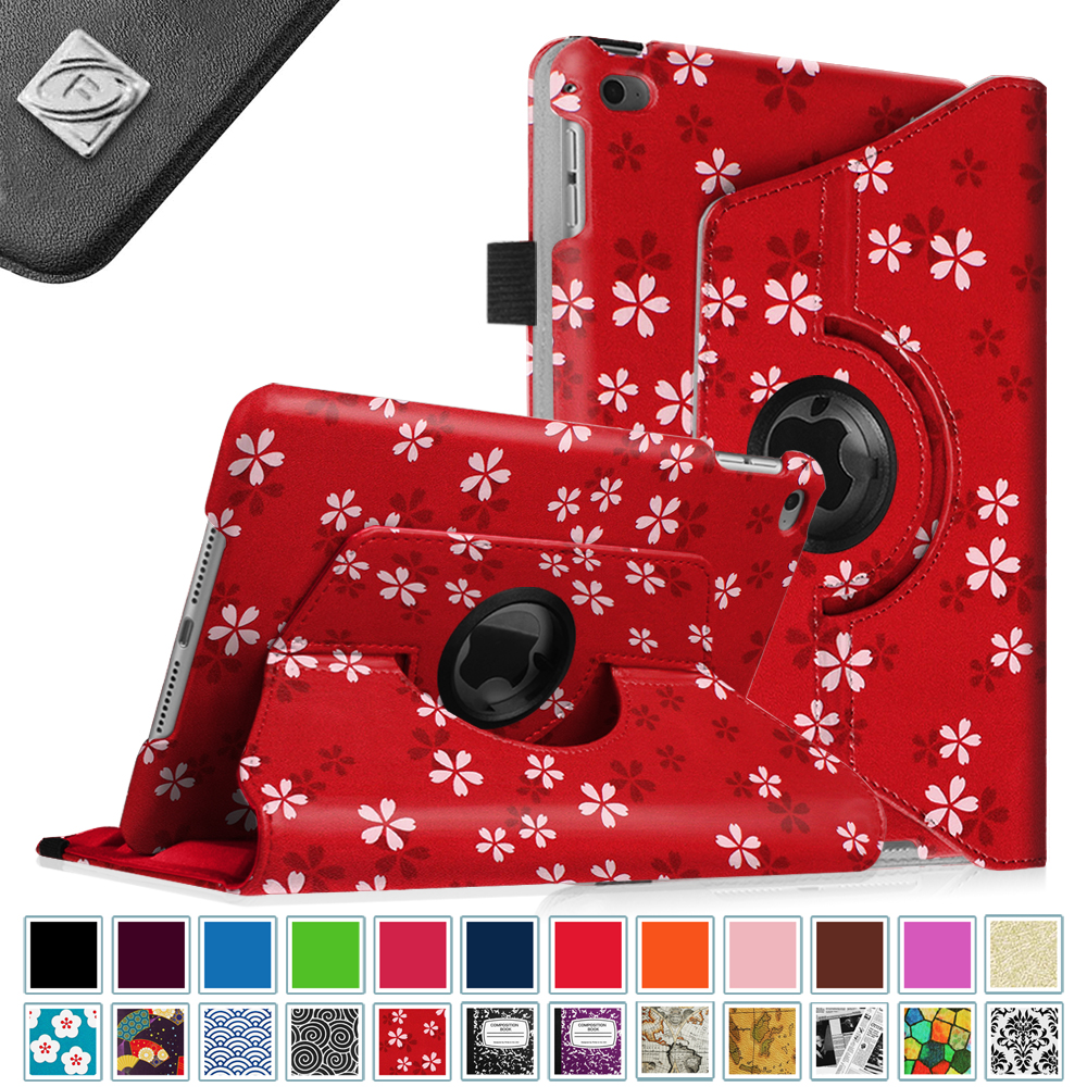 Fintie iPad mini 4 Case 2015 - 360 Degree Rotating Stand Cover with Auto Sleep / Wake, Floral Red