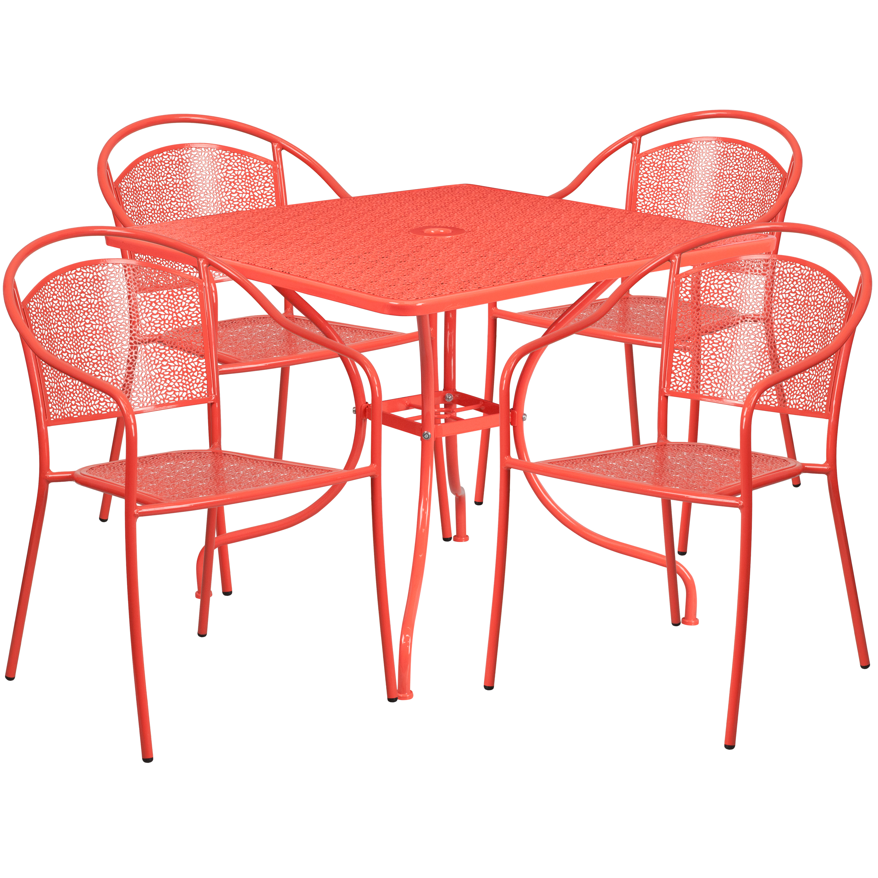 Flash Furniture 35.5'' Square Indoor-Outdoor Steel Patio Table Set with 4 Round Back Chairs, Multiple Colors