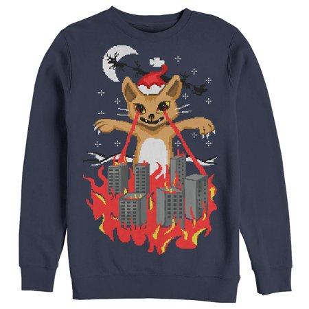 Ugly Christmas Sweater Cartoon.Lost Gods Men S Ugly Christmas Sweater Catzilla Sweatshirt Walmart Com
