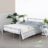 Geniqua Full Size Bed Frame Silver Steel Platform Classic Headboard Footboard Foundation Tool Free Assembly No Box Spring Needed