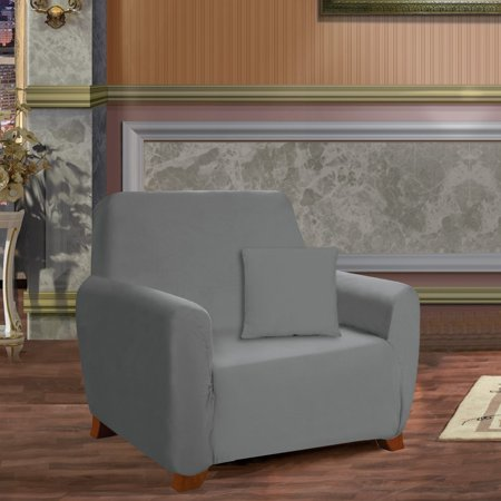 Elegant Comfort Collection Luxury Soft Furniture Jersey STRETCH SLIPCOVER, Chair Gray ()