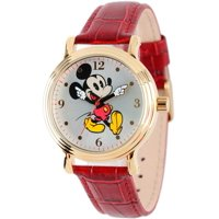 Mickey Mouse Women's Shinny Gold Vintage Articulating Alloy Case Watch, Red Leather Strap