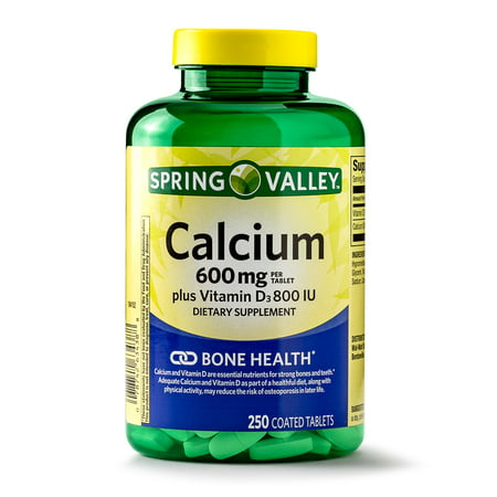 Spring Valley Calcium plus Vitamin D Coated Tablets, 600 mg, 250 Ct (Nano Calcium)