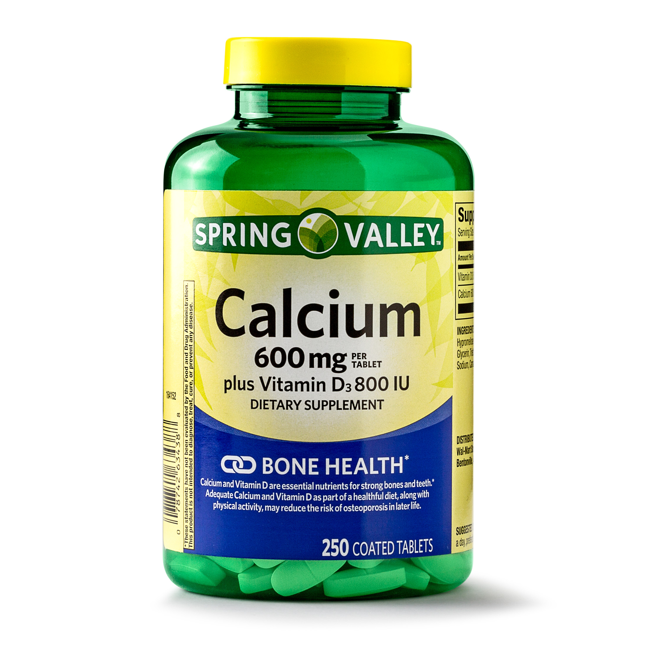 Spring Valley Calcium plus Vitamin D Coated Tablets, 600 mg, 250 Ct