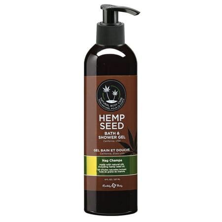Earthly Body Hemp Seed Bath & Shower Gel - Option : Nag Champa - 8oz