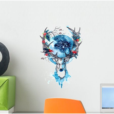 Watercolor Winter Stag Deer Wall Decal Wallmonkeys Peel and Stick Animal Graphics (12 in H x 9 in W) WM502524 (Winter Decal Set)