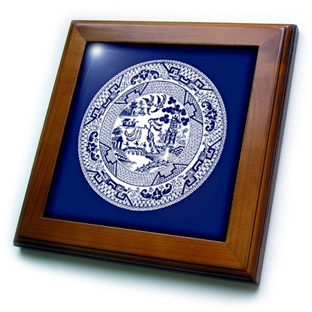 Sister Framed Tile - 3dRose Willow Pattern in Delft Blue and White - Framed Tile, 6 by 6-inch