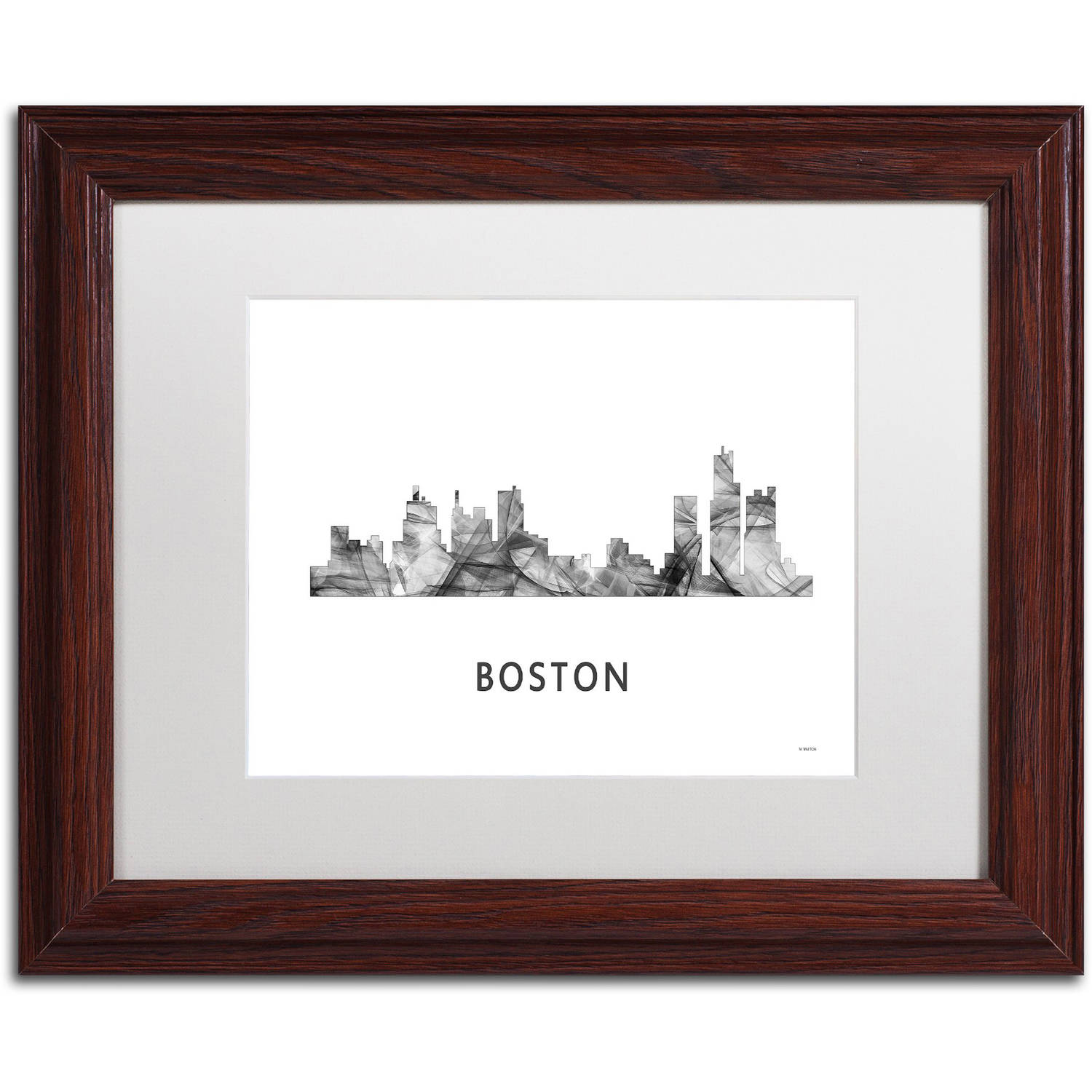 Trademark Fine Art 'Boston Mas Skyline WB-BW' Canvas Art by Marlene Watson, White Matte, Wood Frame