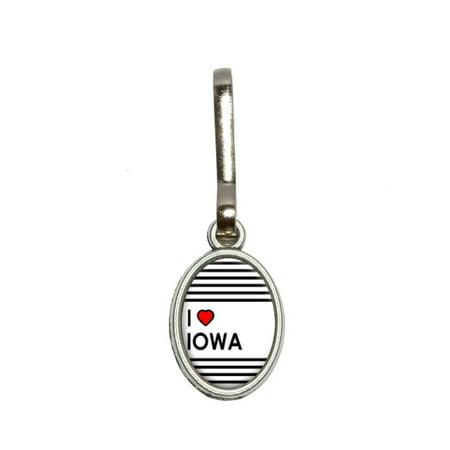 I Love Heart Iowa Oval Zipper Pull
