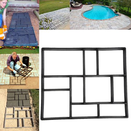 Fosa Topeakmart Garden Concrete Paving Pathway Patio Path Brick Stepping Stone Mould Black ()