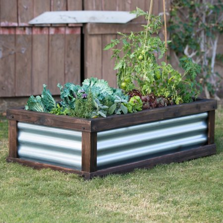 Coral coast guthrie corrugated metal wood raised garden bed 4l x 2w ft for Corrugated metal raised garden beds
