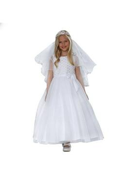 72015c2fb160 Product Image Angels Garment Big Girls White Satin Lace Sparkle Tulle  Communion Dress