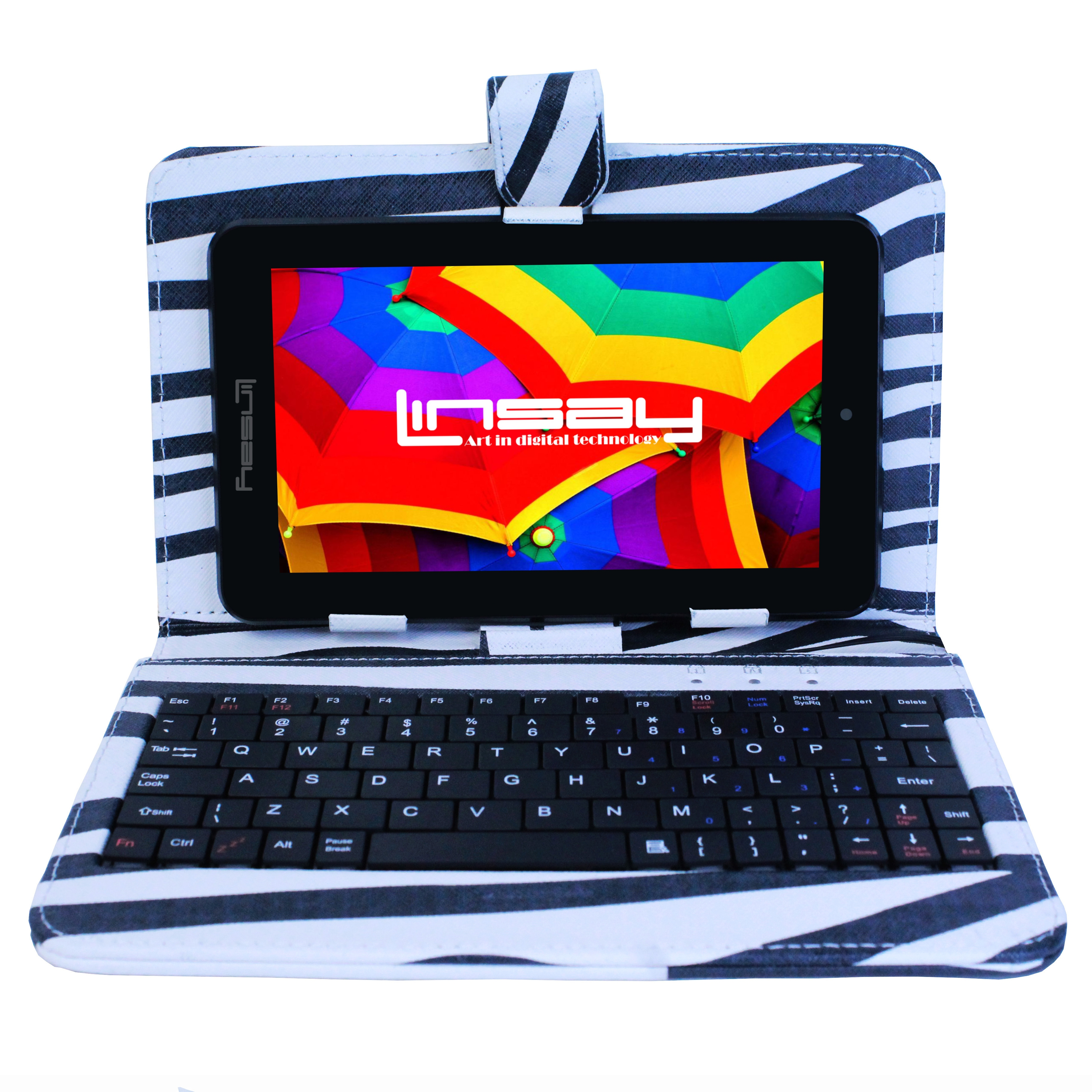 """LINSAY 7"""" HD Quad Core Tablet with Zebra Style Keyboard Case Android 9.0 PIE 2GB Ram 16GB Storage"""