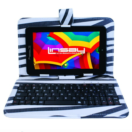 "LINSAY 7"" 1280x800 IPS Touchscreen Tablet PC Featuring Android 4.4 (KitKat) Operating System Bundle with Zebra Style Keyboard"