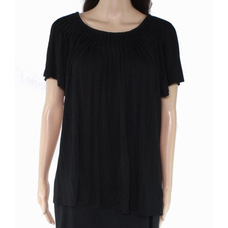 Womens Knit Top Plus Pleated Neck Solid Stretch 0X Pleated Knit Top