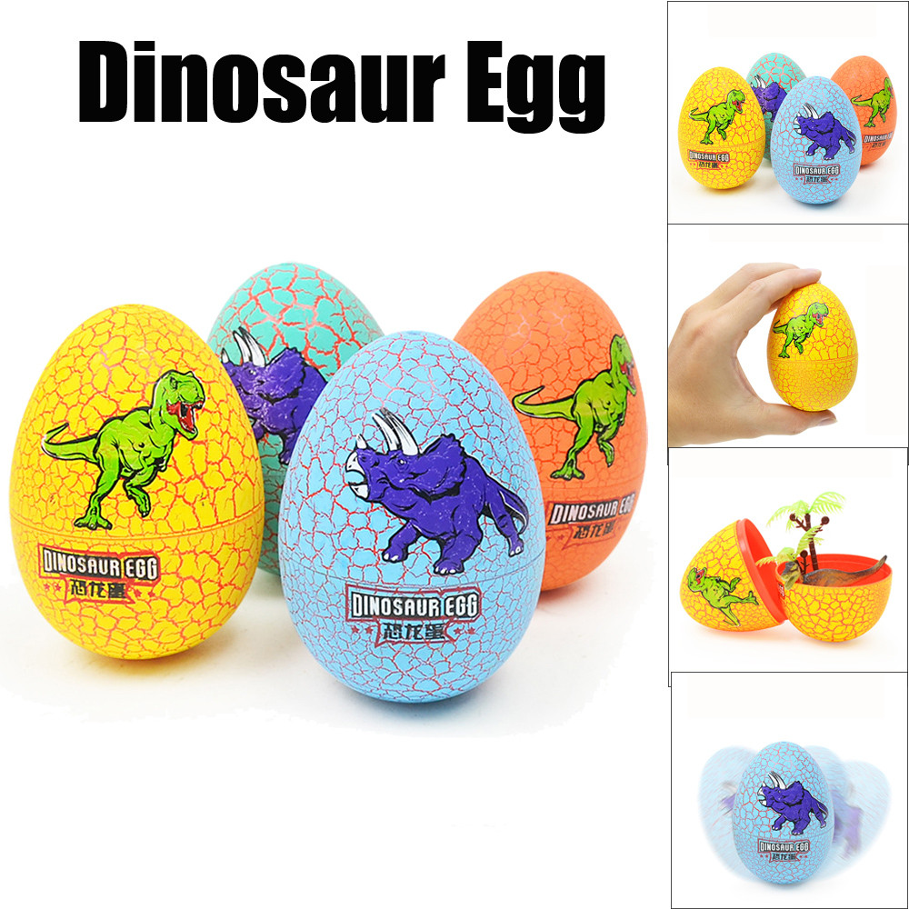 Voberry Colorful Crackle Dinosaur Egg Simulation Dinosaur Animal Model Surprise Toy