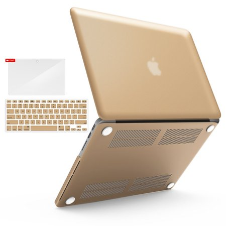 iBenzer Basic Soft-Touch Series Plastic Hard Case & Keyboard Cover for Apple MacBook Pro 15.4-inch 15.4'' with Retina Display A1398 (Previous Generation), Gold