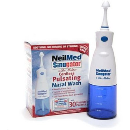 NeilMed Sinugator Cordless Pulsating Nasal Wash with 30 Premixed Packets 1 kit (Pack of 2) by