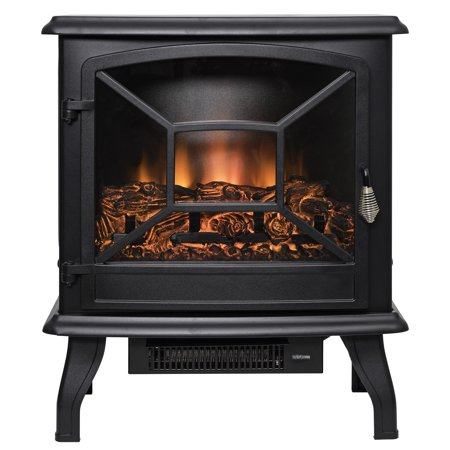 "AKDY FP0084 20"" Black Freestanding Electric Fireplace 3D Flames Firebox Heater w/ Logs"