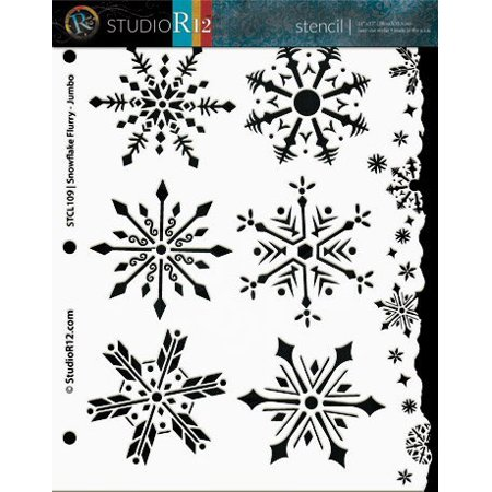 Snowflake Stencil BY StudioR12 | Winter Flurry Snow Art - Medium 8.5 x 11-inch Reusable Mylar Template | Painting, Chalk, Mixed Media | Use for Crafting, DIY Home Decor - STCL109