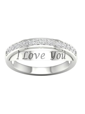 3371167d7 Product Image IGI Certified Imperial 1/5Ct TDW Diamond 10k White Gold I  Love You Band (