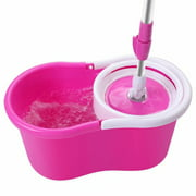 Clearance! 360° Spin Mop with Bucket & Dual Mop Heads Pink-A