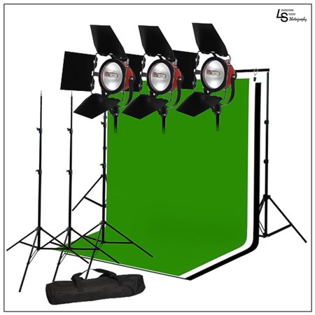Spot Barndoor (Trio 2400W 2800K Tungsten Continuous Light Kit with Muslin, Backdrop Support System, Barndoors, and Bag by Loadstone Studio WMLS1053 )