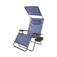 """PerfectPatio XXL 33"""" DELUXE Gravity Free Recliner w/ Canopy & Tray - Blue Flowers"""