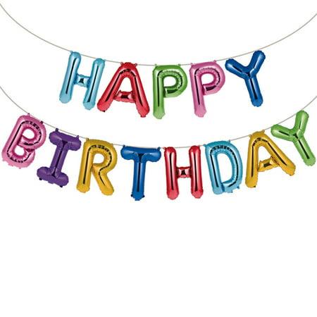 Happy Birthday Balloons Banner 14 ft Long