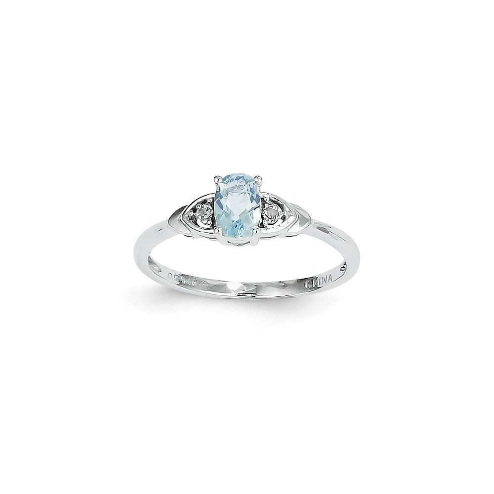 14k White Gold 6x4 Oval Genuine Aquamarine Diamond Ring. Gem Wt- 0.4ct