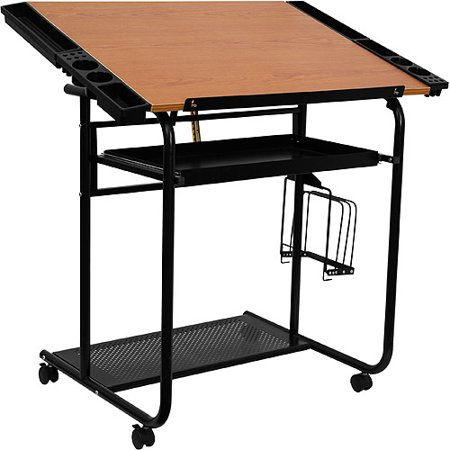 Adjustable Drawing And Drafting Table With Black Frame And Dual Wheel  Casters - Adjustable Drawing And Drafting Table With Black Frame And Dual