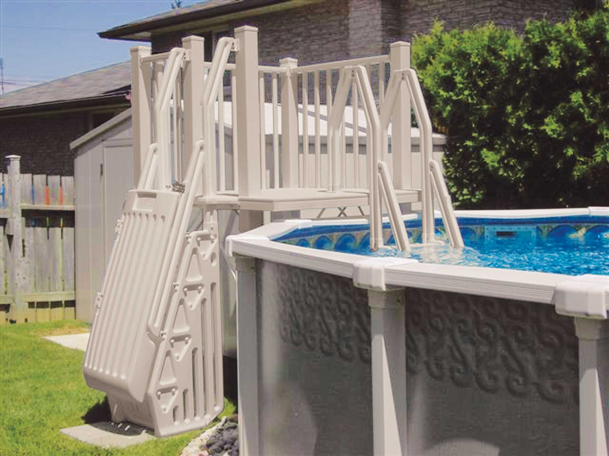 Vinyl Works Above Ground Swimming Pool Resin Deck Kit   Taupe 5 X 5 Feet    Walmart.com
