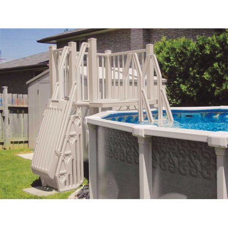 Vinyl works above ground swimming pool resin deck kit taupe 5 x 5 feet for Resin above ground swimming pools
