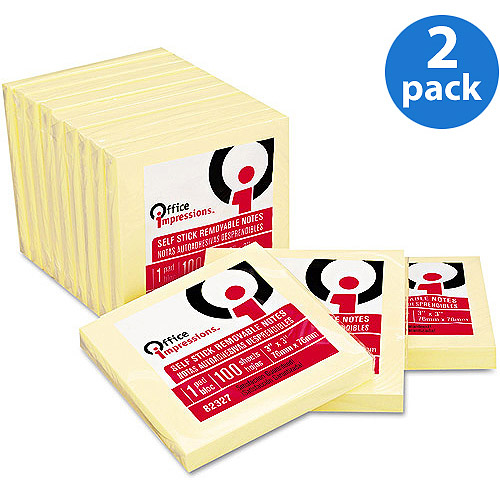 Office Impressions Yellow 3x3 Self-Stick Notes, 100-Sheet Pads, 12/Pack, 2 Pack Bundle