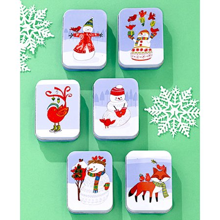Gift Box Place Card Holder - Sets of 6 Tin Gift Card Holders ( Snowman )