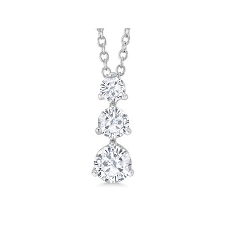 """3 Stone Stone CZ Solitaire Rhodium Plated Pendant With 16"""" chain + 2"""" Extender"""