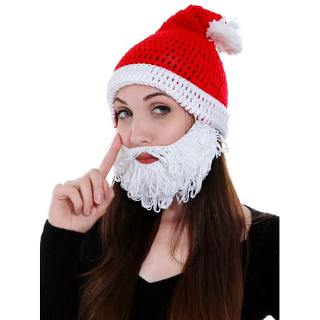 Warm Winter Christmas Costume Knit Santa Hat with Beard set 54d7019546f
