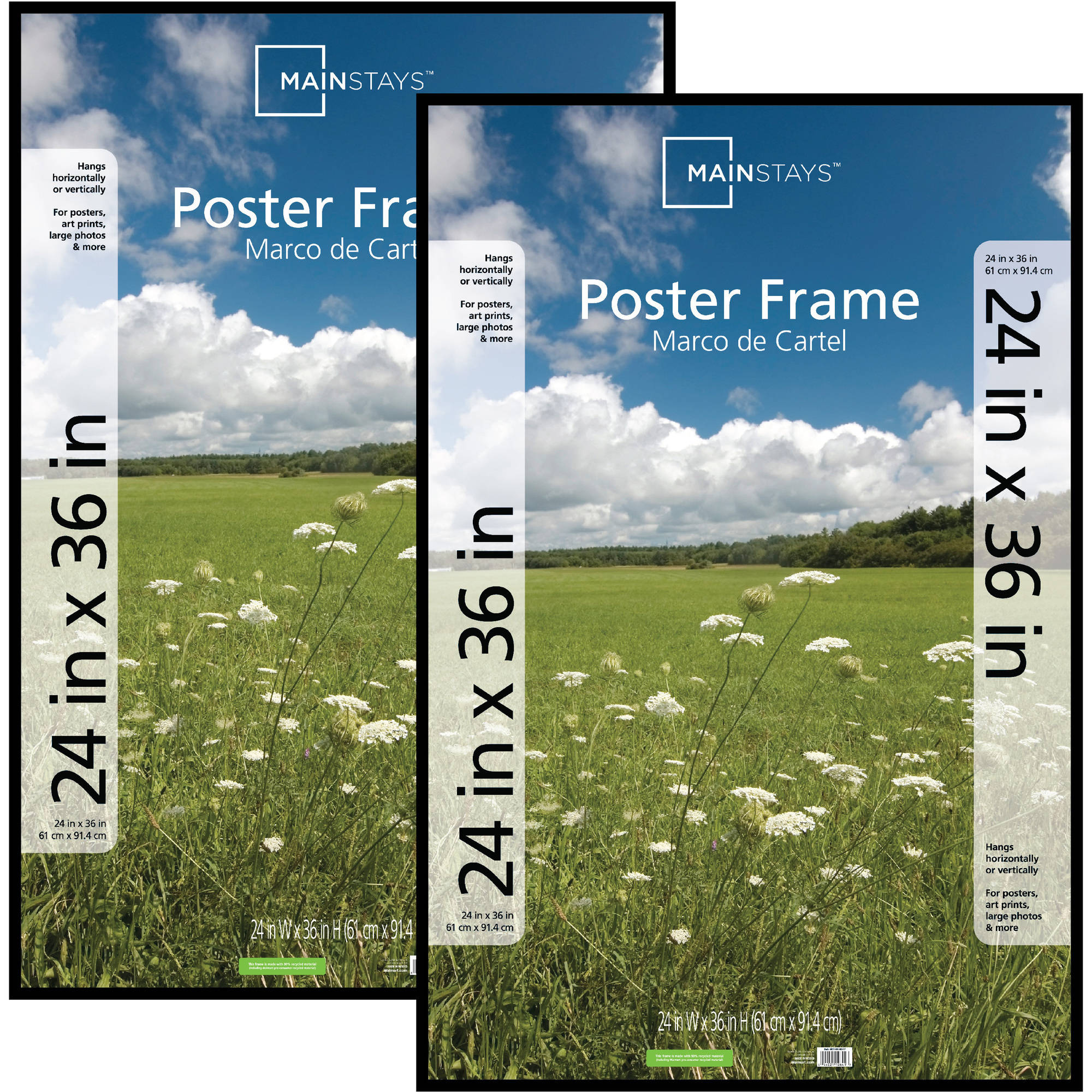 Mainstays 24x36 Basic Poster & Picture Frame, Black, Set of 2