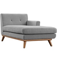 Modern Contemporary Right-Arm Chaise , Grey, Fabric