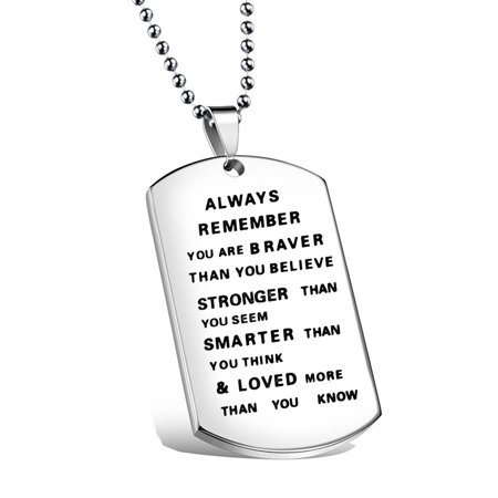 Always Remember You Are Braver Than You Believe Hand Stamped Necklace for Family and Friends (Believe Jewelry)