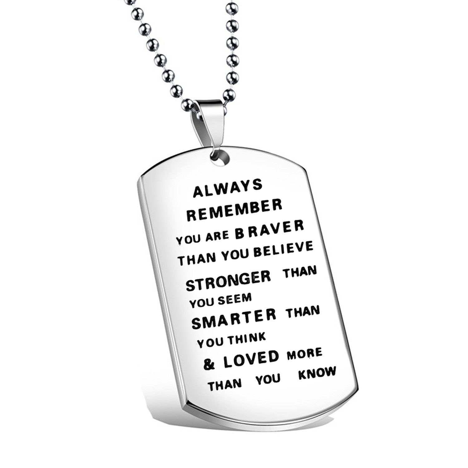 Always Remember You Are Braver Than You Believe Hand Stamped Necklace for Family Friend