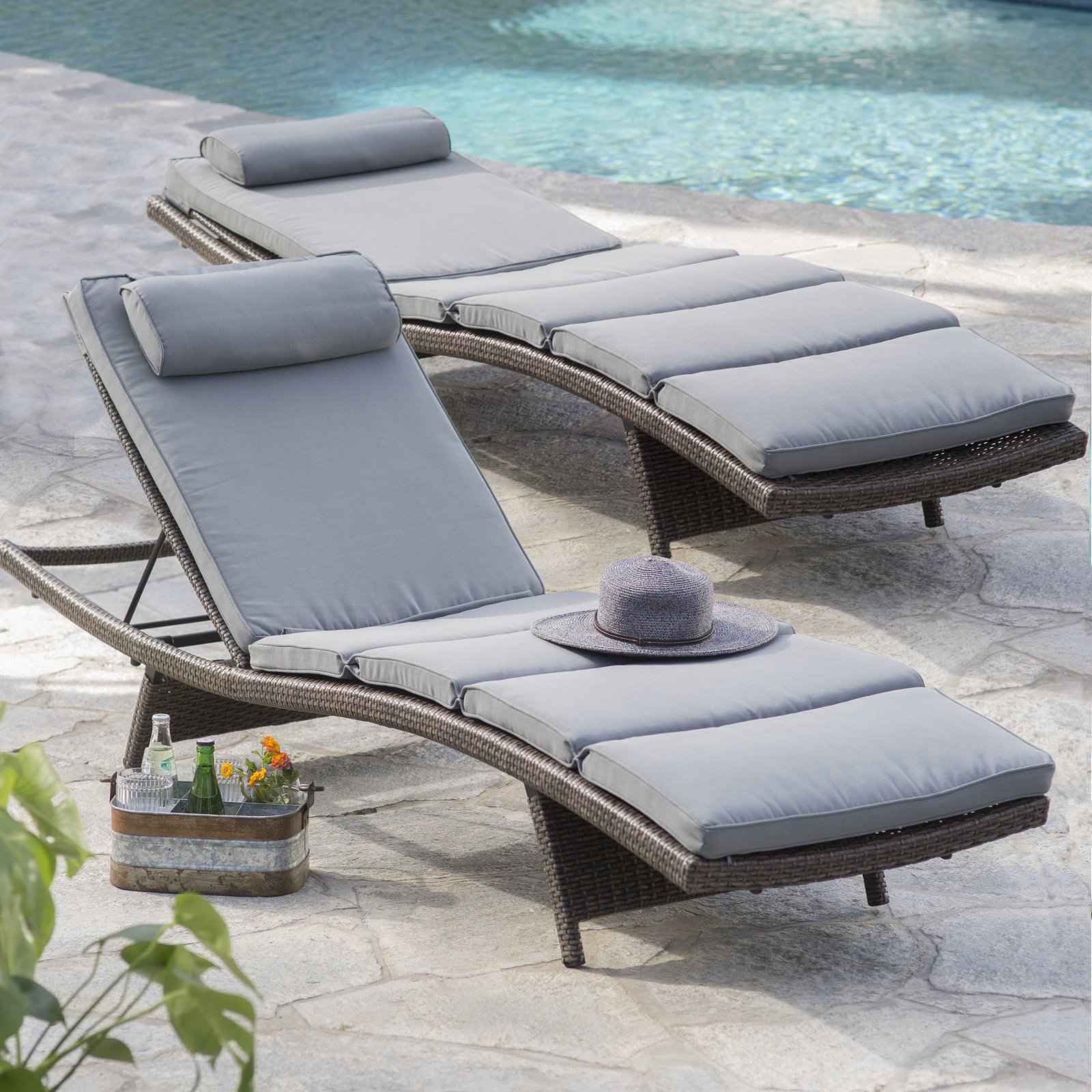Coral Coast Sola All-Weather Wicker Adjustable Chaise Lounge - Set of 2