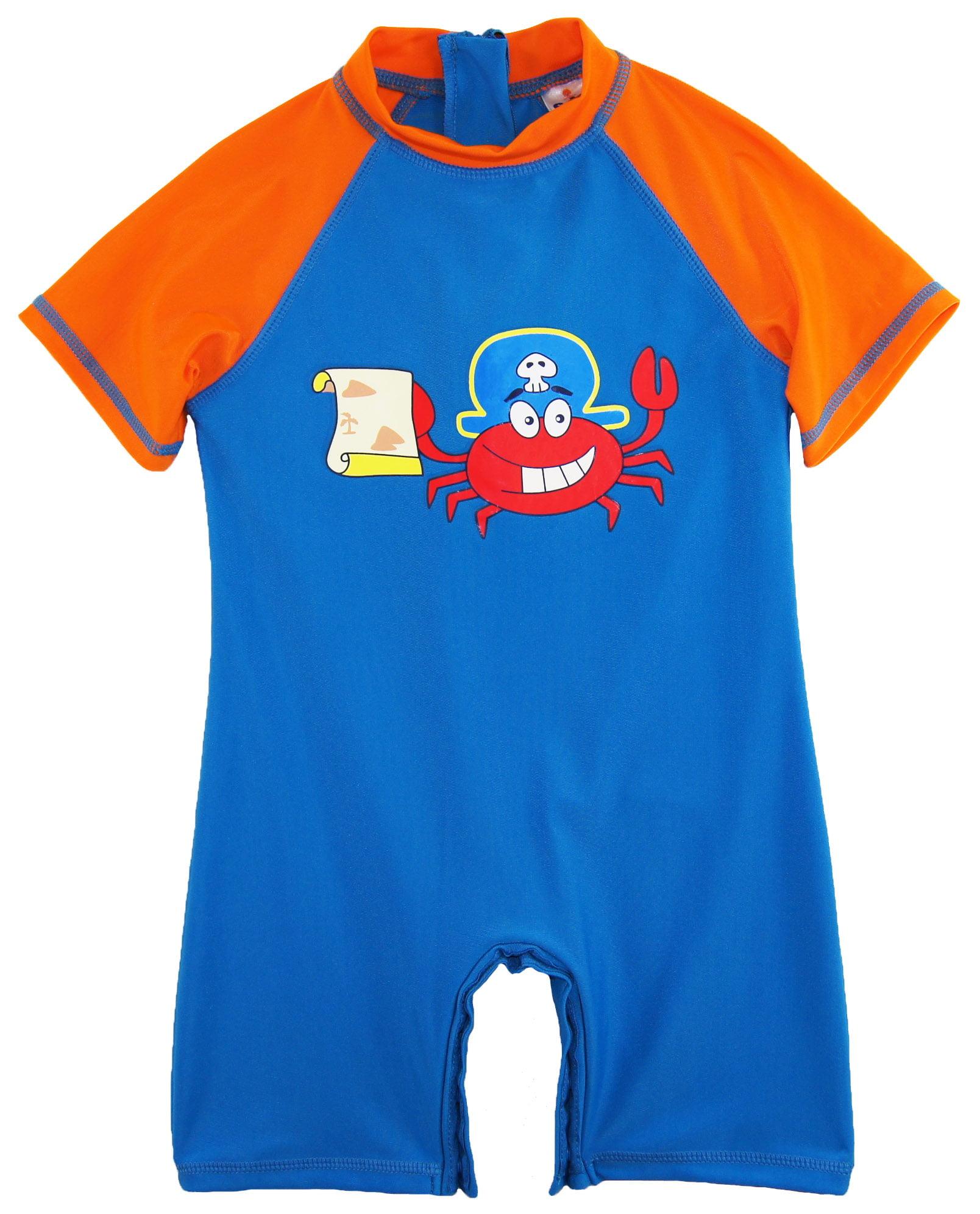 Sweet & Soft Toddler Boys Swimwear Cute Pirate Crabby Rashguard Sunsuit Swimsuit UPF 50+ size 4T