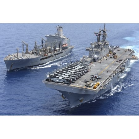 Military Sealift Command Ships - Red Sea May 22 2013 - The Military Sealift Command fleet replenishment oiler USNS Laramie and the amphibious assault ship USS Kearsarge conduct a replenishment-at-sea Poster Print
