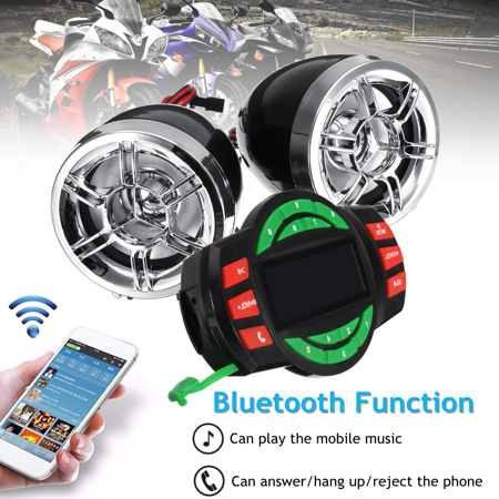 3'' bluetooth Motorcycle Handlebar Audio motorcycleaccessorie System USB SD FM Radio MP3 Speakers