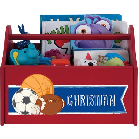 Sports Star Personalized Red Toy Caddy Personalized Toy Bin