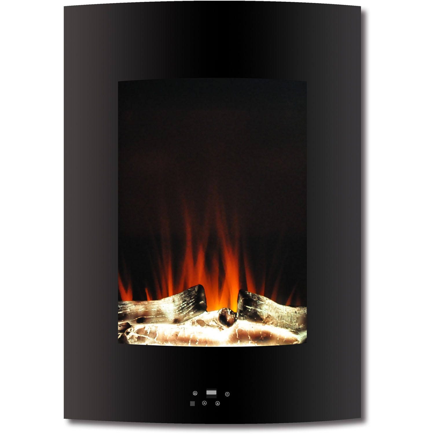 """Cambridge 19.5"""" Vertical Electric Fireplace Heater with Multi-Color LED Flames and Driftwood Log Display"""