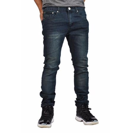 - Indigo People Men's Denim Jeans Skinny Fit Tapered Leg 28023 Blue 32x32