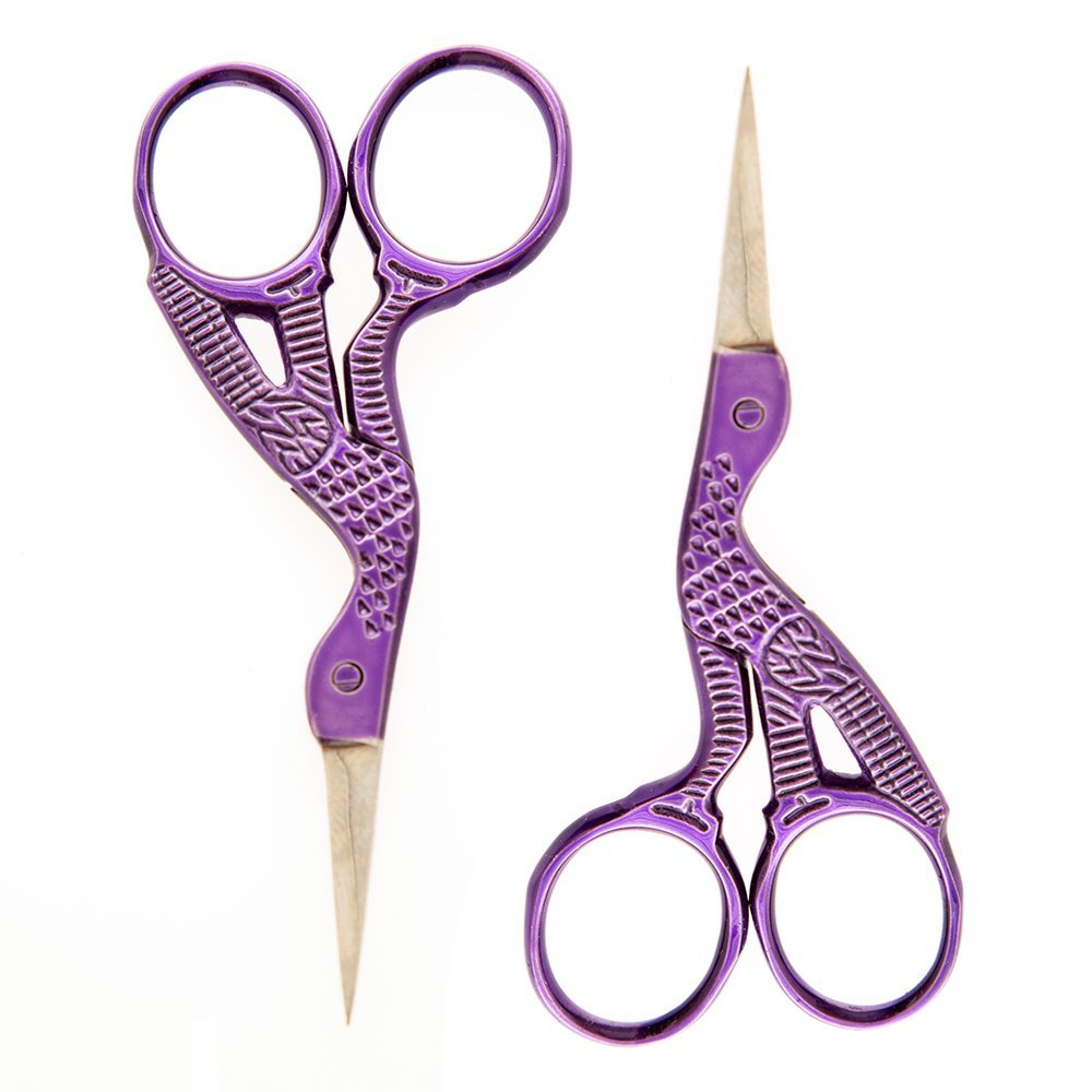 """260 Ultra Fine Stork 3-1/2 Inch Needlework Scissors in Assorted Colors - Multipacks (Set of 2 Scissors - Purple), 3.5"""" Length - .75"""" Cutting By Allary,USA"""