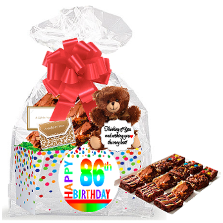 86th Birthday / Anniversary Gourmet Food Gift Basket Chocolate Brownie Variety Gift Pack Box (Individually Wrapped) 12pack